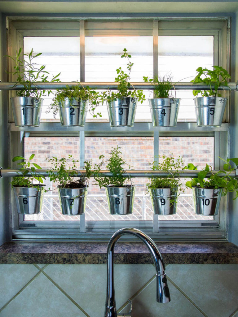 DIY Kitchen Herb Gardening with Metal Tubs Hanging From Curtain Rod Hangers