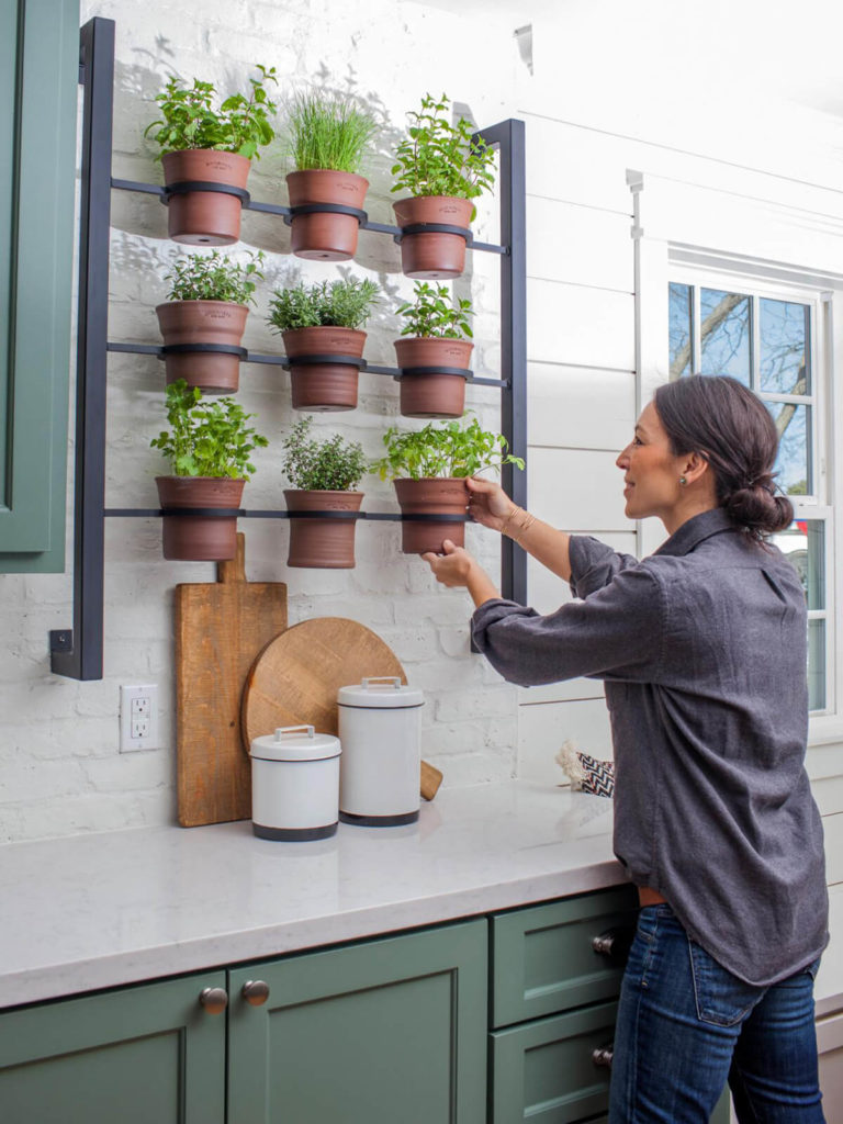 Wall Hanging Potted Herb Gardening: DIY Vertical Herb Planting with Terracotta Pots