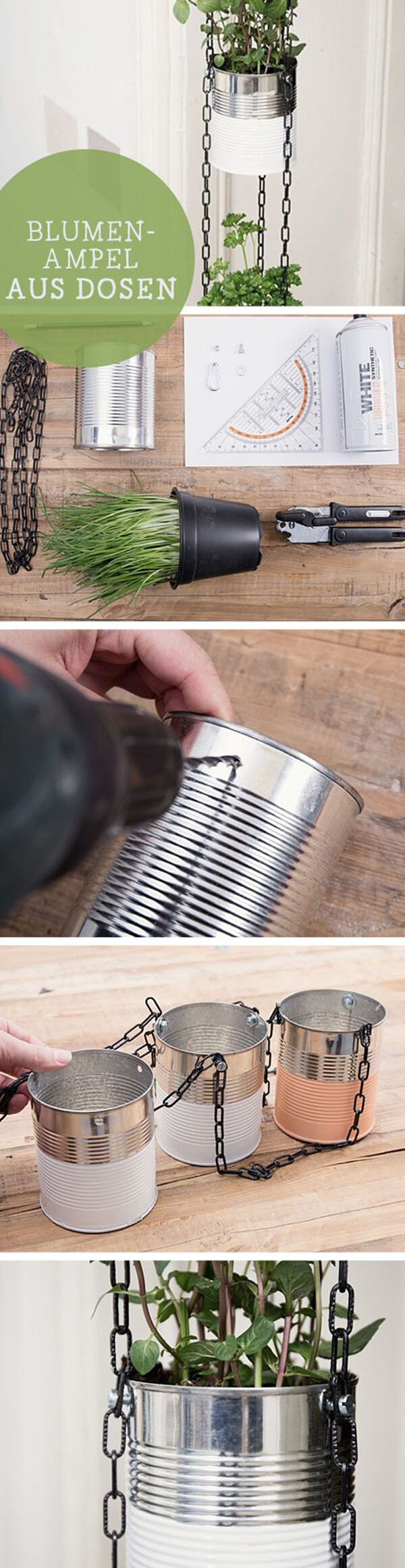 Vertical Hanging Herb Gardening with Painted Tin Cans with Chain Hangers