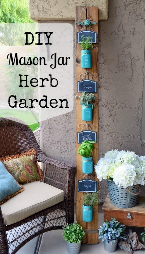 DIY Vertical Herb Gardening with Mason Jars: Shabby Chic Painted Mason Jar Heb Planters