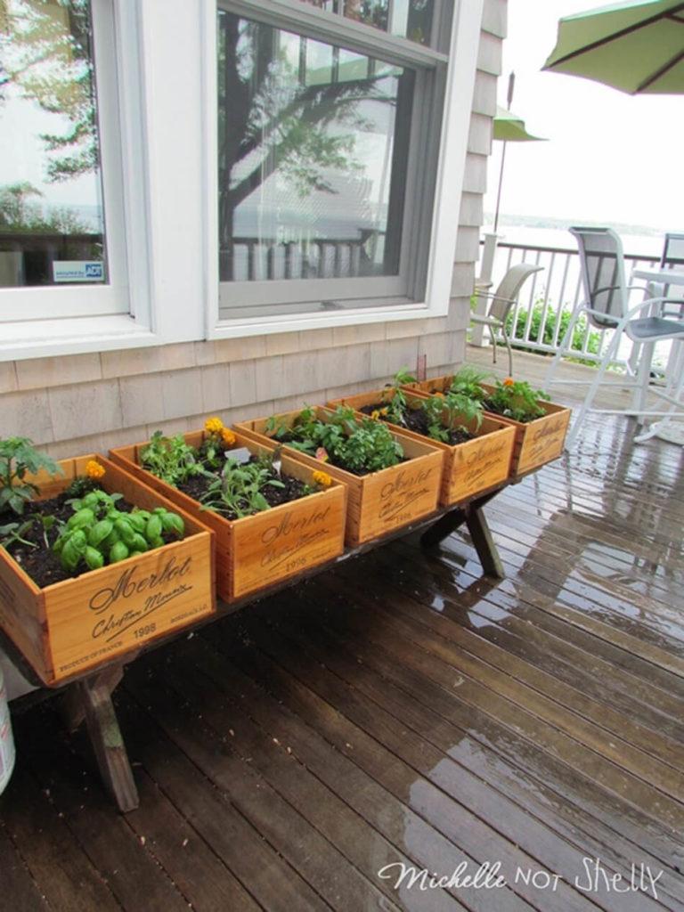 DIY Recycled Herb Gardening Idea: Vintner-Inspired Wine Box Herb Garden for Outdoors