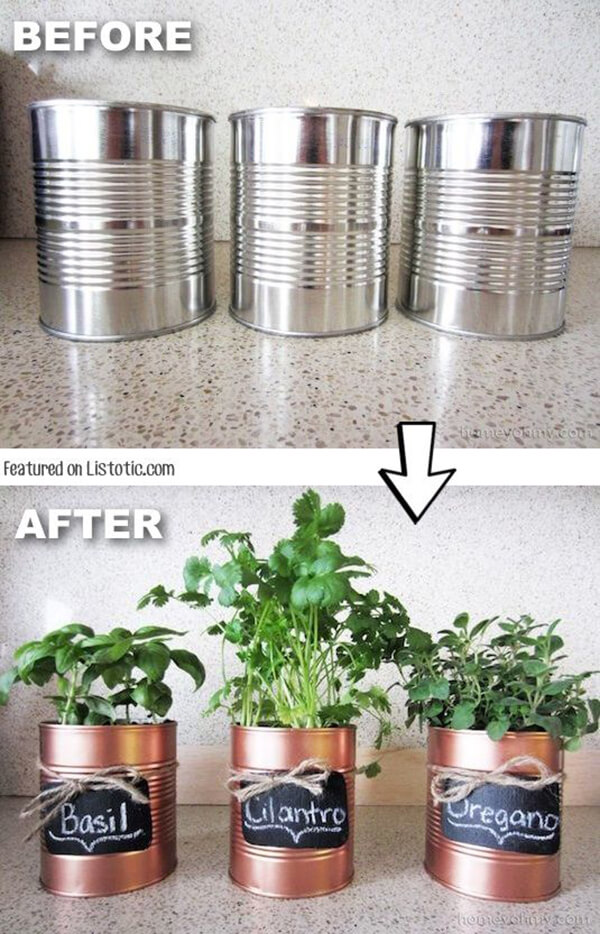 Easy Peasy DIY Herb Planter with Tin Can: Coffee Tin Makeover Tutorial with Paint and Name Tags