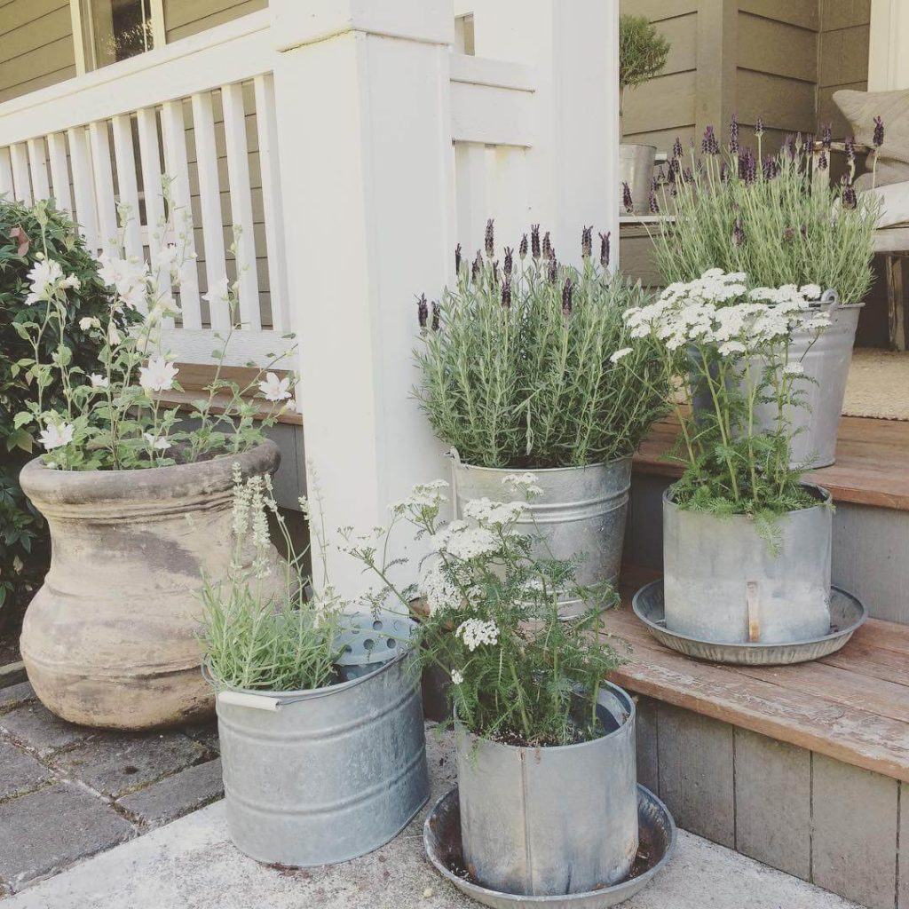 French Style Porch Entrance Decor with Re-Purposed Metallic Planters