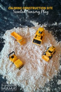 Calming Construction Site Sensory Play with DIY Homemade Moon Sand Out of Kitchen Supplies
