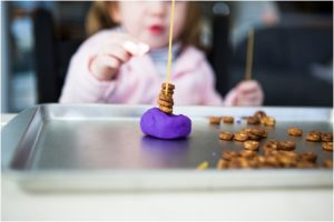 Preschool Engineering Activities: DIY Cheerio Towers on Simple Play Dough Base with Spaghetti No ...