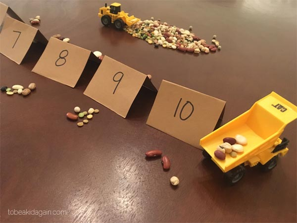 Construction Site Counting Game with Beans: Fine Motor SKill Explorer By Creative Little Explorers