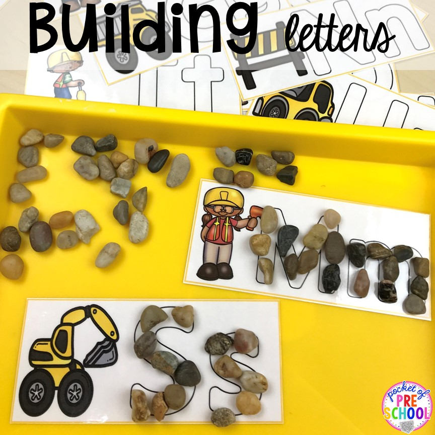 Construction Themed Activities for Little Learners: DIY Letter Building with Rocks and Pebbles
