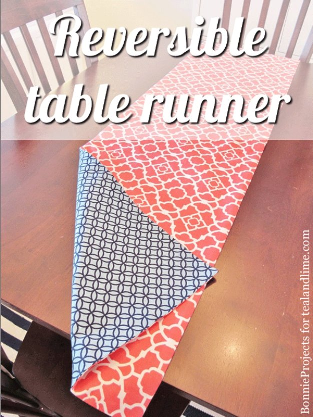 DIY Reversible Tablerunner with Two-Side Catchy Prints