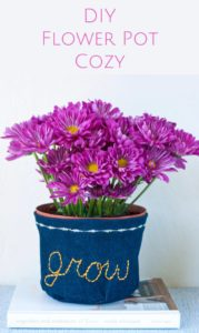 DIY Sewing Crft Idea: Fancy Flower Pot Cozy with Pretty Embroidery Headings
