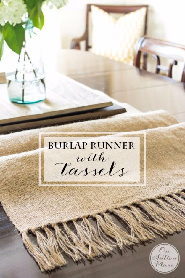 Rustic Burlap Runner with Fancy Tassel Ends: An Inexpensive and Easy Sewing Craft Idea
