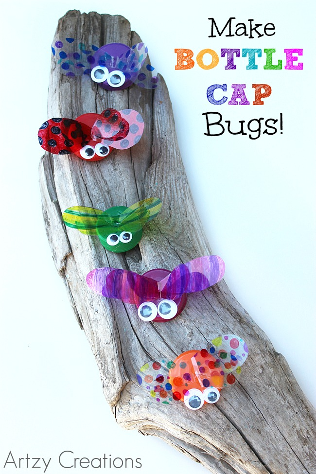 DIY Bottle Cap Bugs with Plastic Wings and Googly Eyes: Cute Summer Craft Idea for Kids