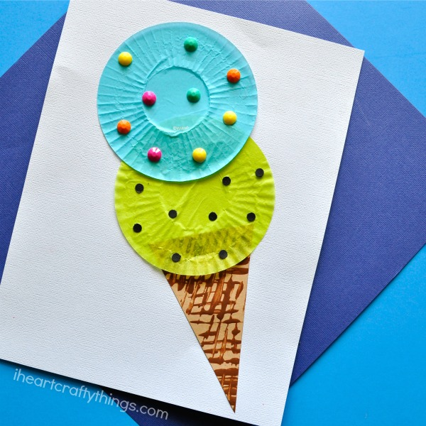 Quick & Easy Summer Craft Cupcake Liner Ice Cream Scoops with Cardstock Cone