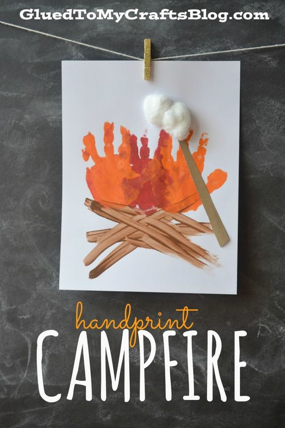 Creative Craft Idea from Handprints: Handprint Campfire Painting with Appropriate Paint Accents