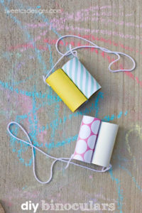 Simple Summer Crafting Idea Kids: DIY Binocular with Empty Tissue Paper Roll and Elastic String