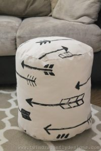 DIY Arrow Floor Pouf Tutorial with White Quilting Fabric By Dragonfly Designs