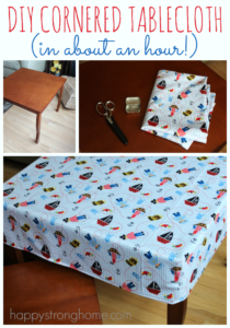 DIY Cornered Tablecloth Tutorial with Stright Simple Stich Line By Happy Strong Home