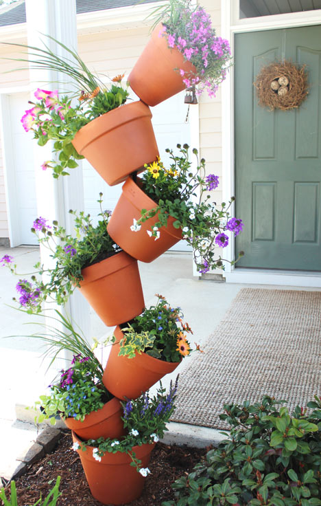 Contemporary DIY Garden Project: Topsy Turvy Flower Planter with Terracotta Pots