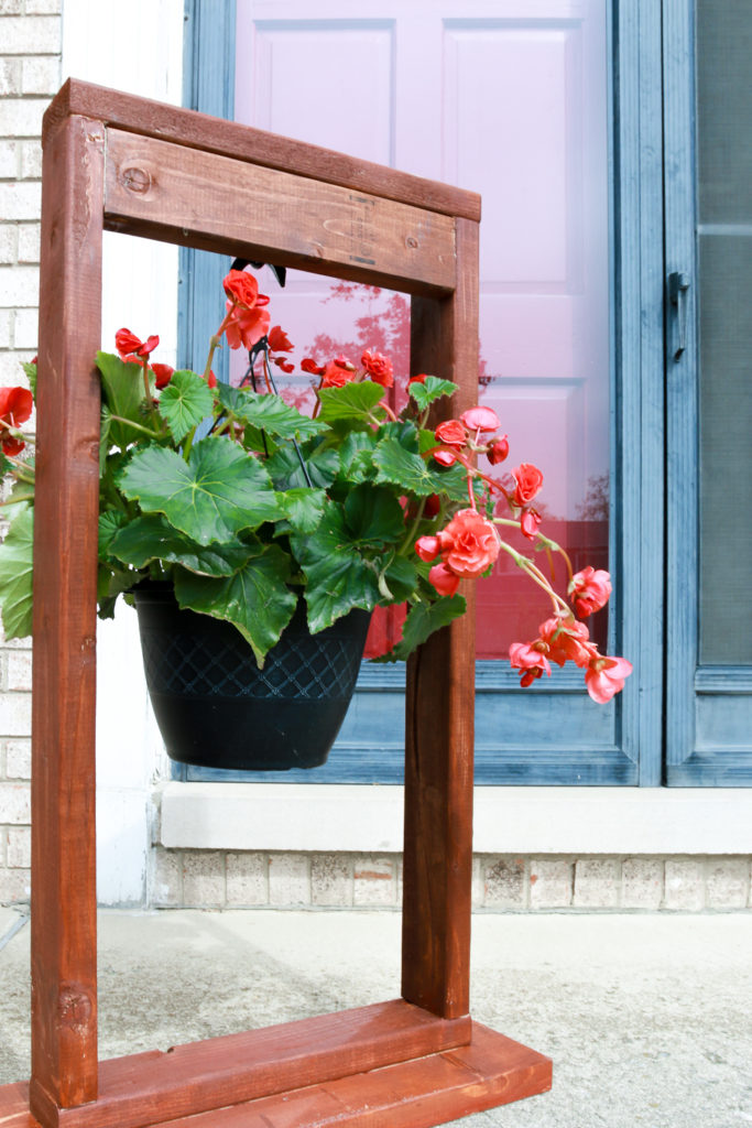 DIY Hanging Planter with Attached Wooden Stand: A Beautiful Craft Idea for Front Porch Area