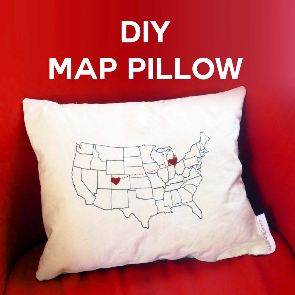 DIY Map Pillow with State-to-State Hearts: A Sewing Project with Learning Skill