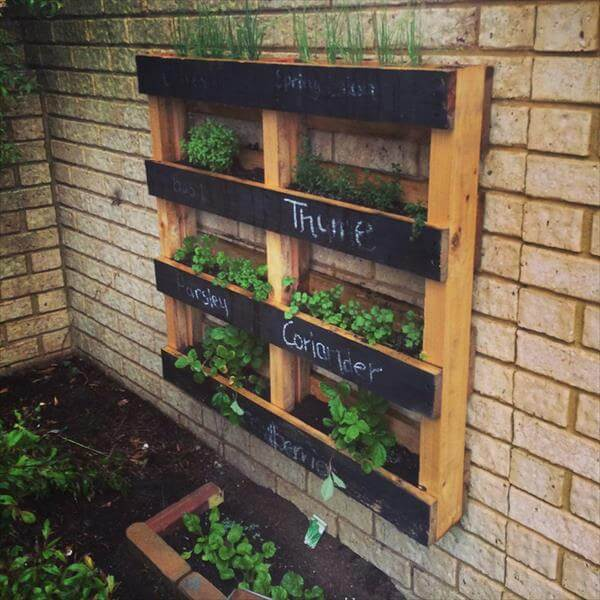 Amazing Pallet Vertical Herb Garden Diy Hanging Planter With Name Tags Truly Hand Picked