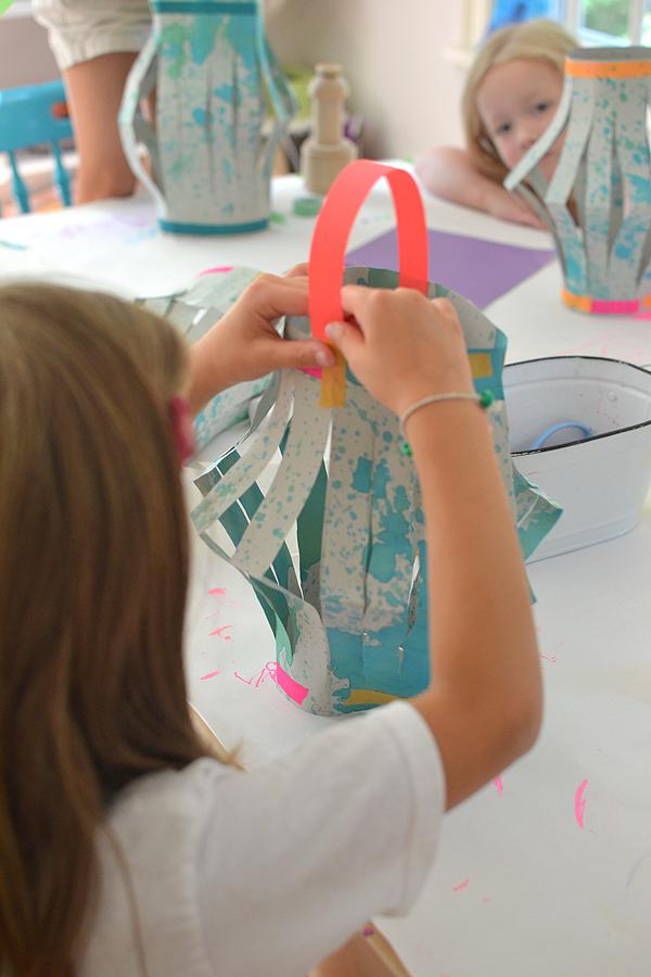 Tutorial DIY Paper Lanterns Made of Self-Splatter Painter Paper Scarp: A Wonderful Craft Idea fo ...