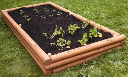 DIY Raised Garden Bed With Landscaping Timbers wit Low Boarders