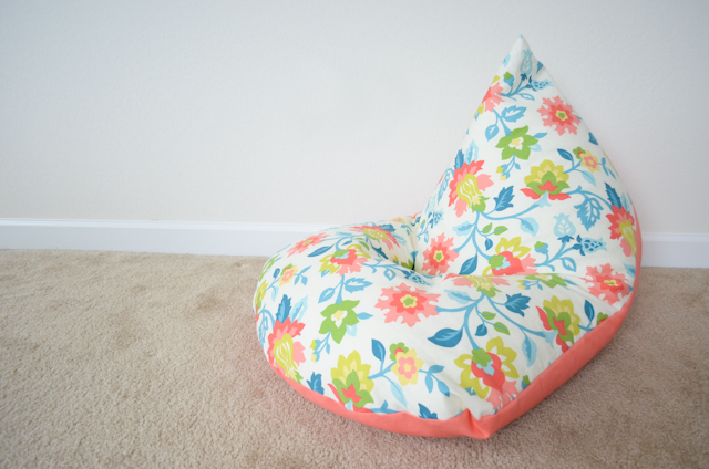 DIY Sewing Project Kids Bean Bag Chair A 30 Minutes Craft with Pretty Printed Fabric