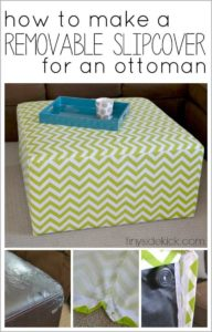 DIY Slip Covered Ottoman with Washable Cotton Cover