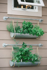 Industrial Style Galvanized Gutter Hanging Planter: Vertical Herb Gardening with Rope Hangers