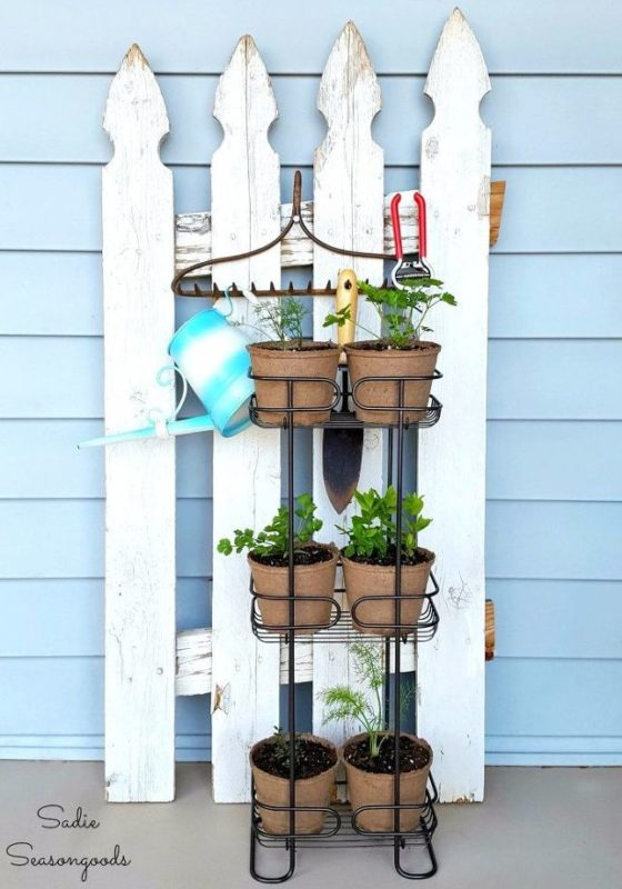 SImple Outdoor Herb Gardening with Usual Planters Set on Metallic SHower Caddy