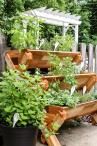 Spectacular Herb Gardening Idea with Three-Tiered Wooden Planter Box for Small Garden Areas