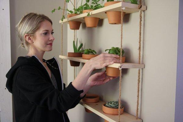 DIY Little Hanging Gardening: Vertical Herb Gardening with Terracotta Pots Set on Light-Toned Wo ...
