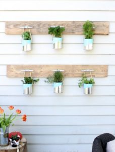 DIY Vertical Herb Gardening in Cottage Style with Can Planter Hanging on Dock Cleats in Nautical ...