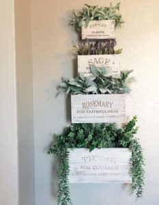 Vertical Herb Gardening with Small to Large Wall-Hanging Wooden Planters Highlighted with NameTags