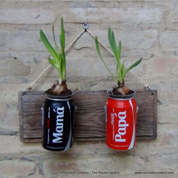 Cool and Contemporary DIY Herb Gardening Idea with Recycling Goodness: Coca-Cola Can Vertical He ...