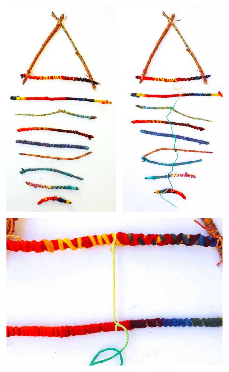 Engineering Craft Idea for Kids Twirling Twig Mobile with Yarn and Sticks