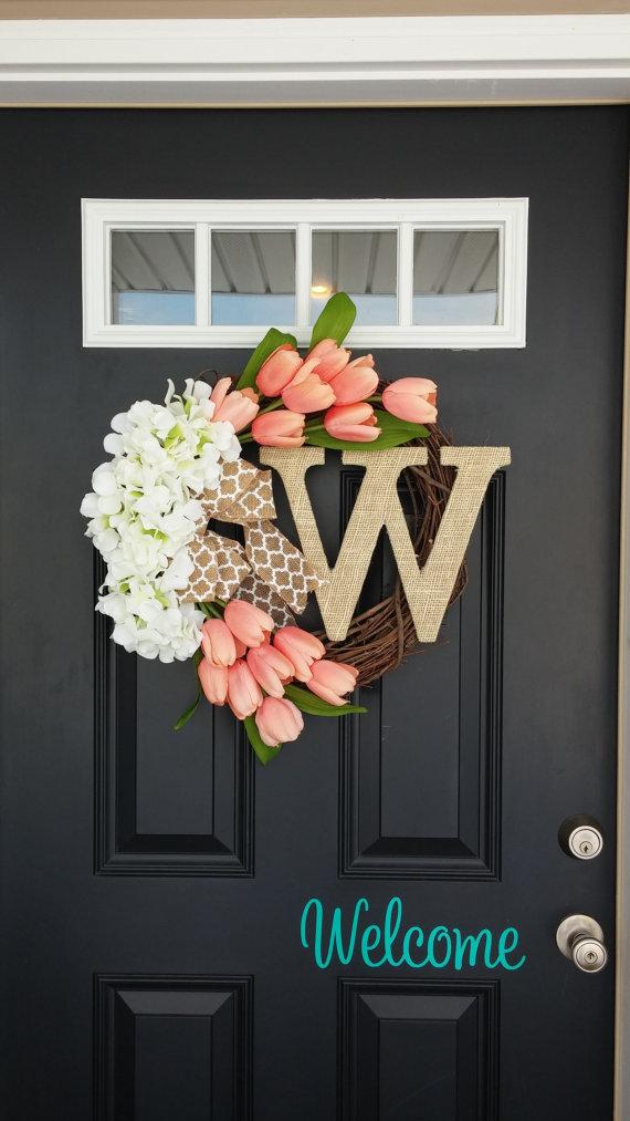 DIY Fall-Wreath Door Decor with Hydrangea and Monogram on Grapevine Base