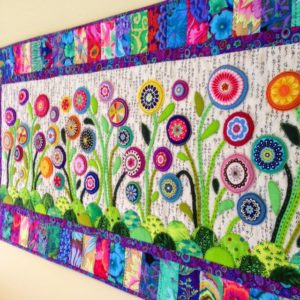 Mesmerizing Flower Garden Table Runner with Whimsical Yarn Flower Decorations
