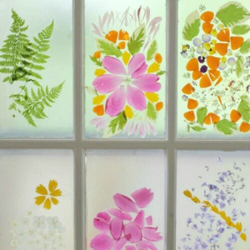 Stained Glass Door Designs with Flower Petals: A Spring Flower Craft