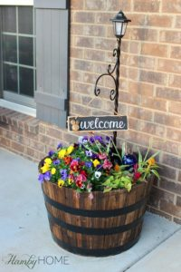 DIY Farmhouse Type Shallow Planter from Recycled Whisky Barrel with Tiering Layers
