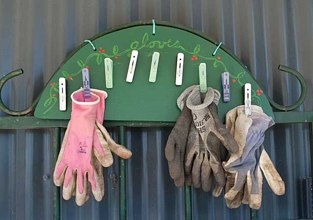 Garden Glove Rack with Clothespin Hooks Over Sturdy Plywood Base