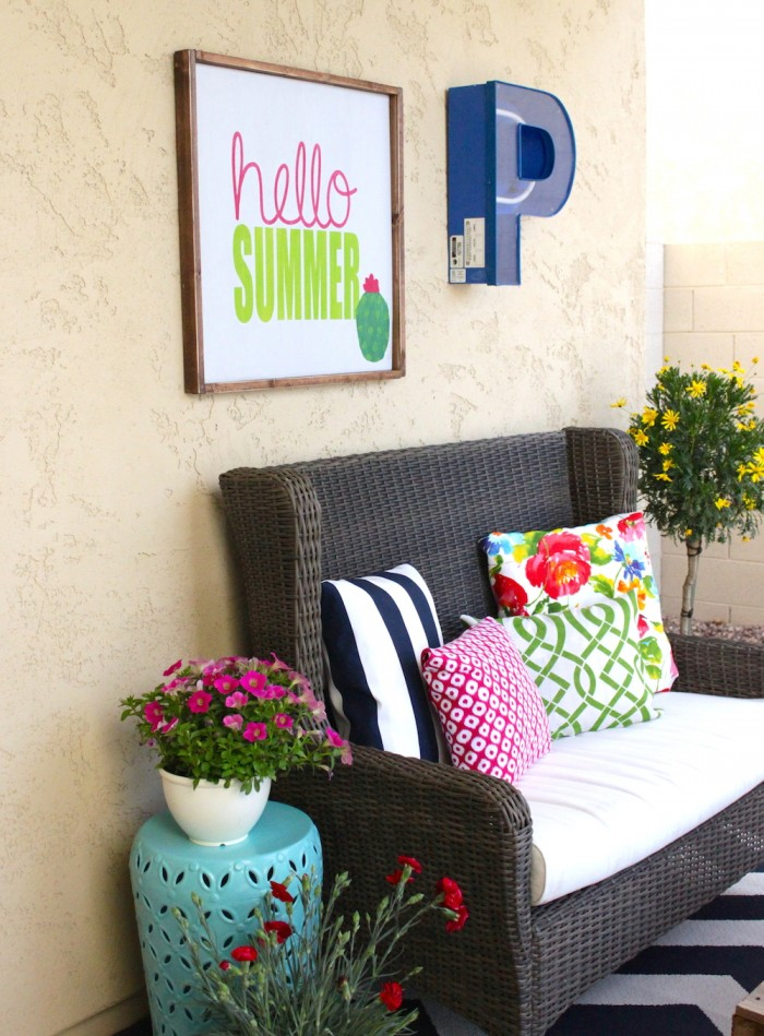 Ravishing Porch Decor Idea with Hello Summer Sign and Some Pretty Floral Touch