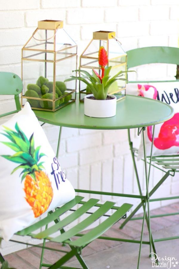 DIY Summer Porch Decor Idea with Hello Sunshine Sign and Glass Greenhouse Planter Tabletops