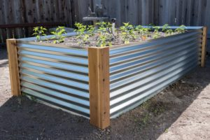 Unique Metal Raised Garden Planter with Cedar Board Base: A Different Type of Garden Bed Project