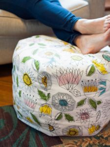 DIY Bean Bag with Pouf Pattern with Jewel Prints Easy Crafts and Homemade Decorating & Gift ...
