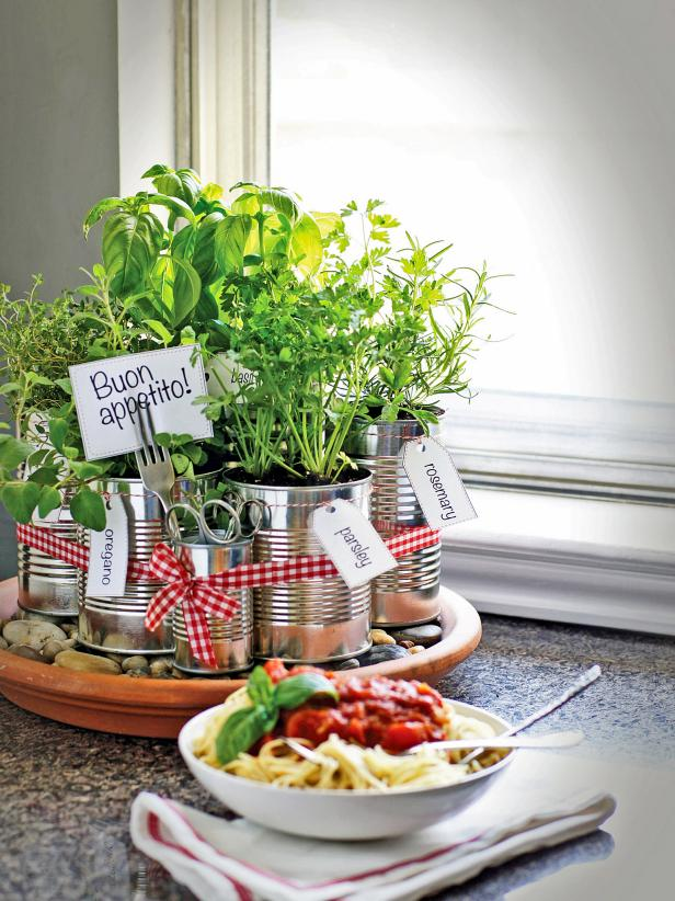 DIY Counter-Top Herb Gardening in Tin Can: A Brilliant Indoor Gardening Idea in The Wrap of Indo ...