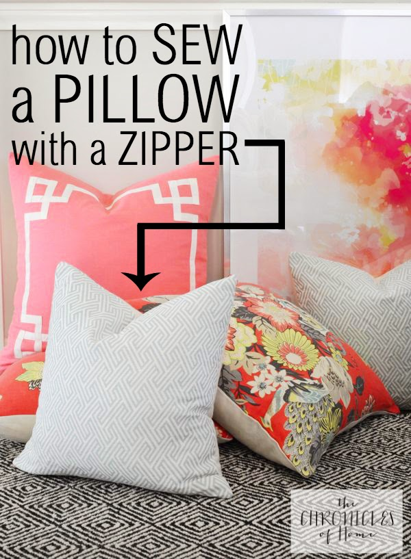 Tutorial of How to Sew a Pillow with a Zipper By The Chronicles of Home