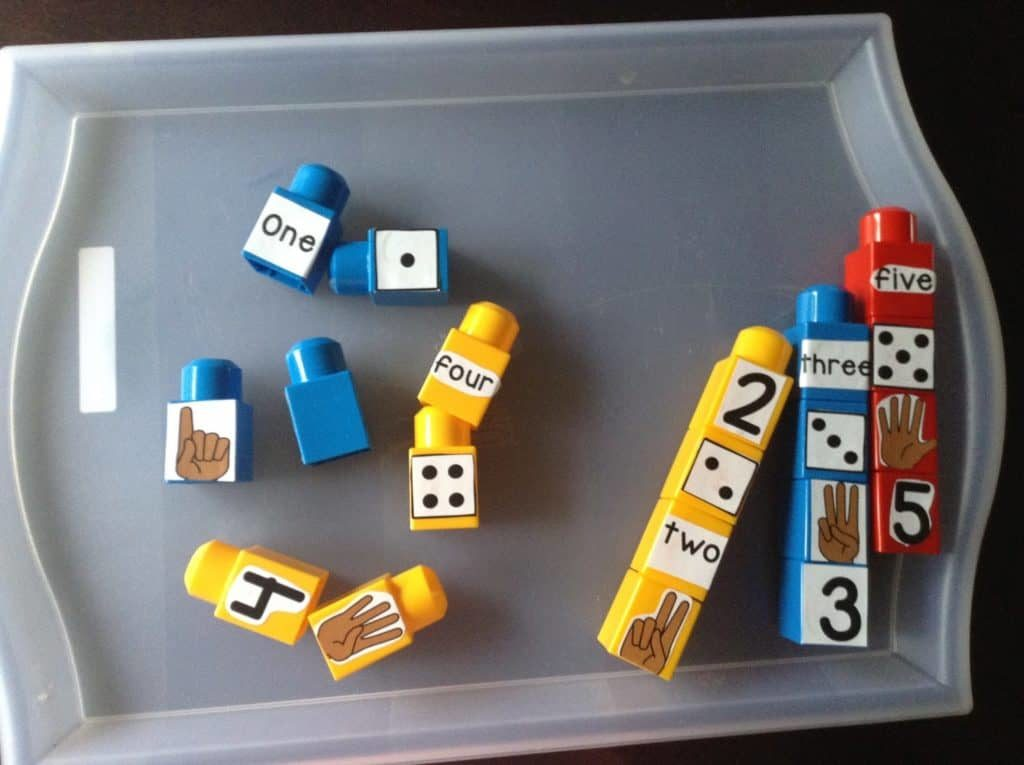 Kids Construction Activity By Building Number Tower Out of Simple Lego Blocks