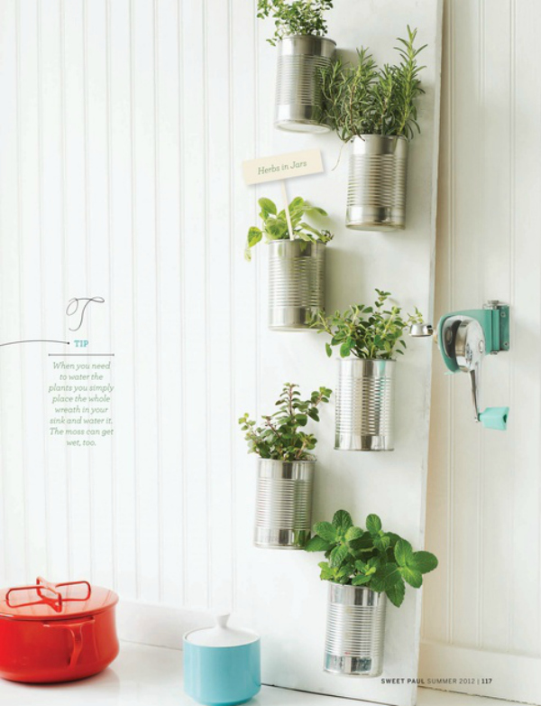 Tin can Herb Gardening: DIY Vertical Planting with Tin Planters on Old Door Base