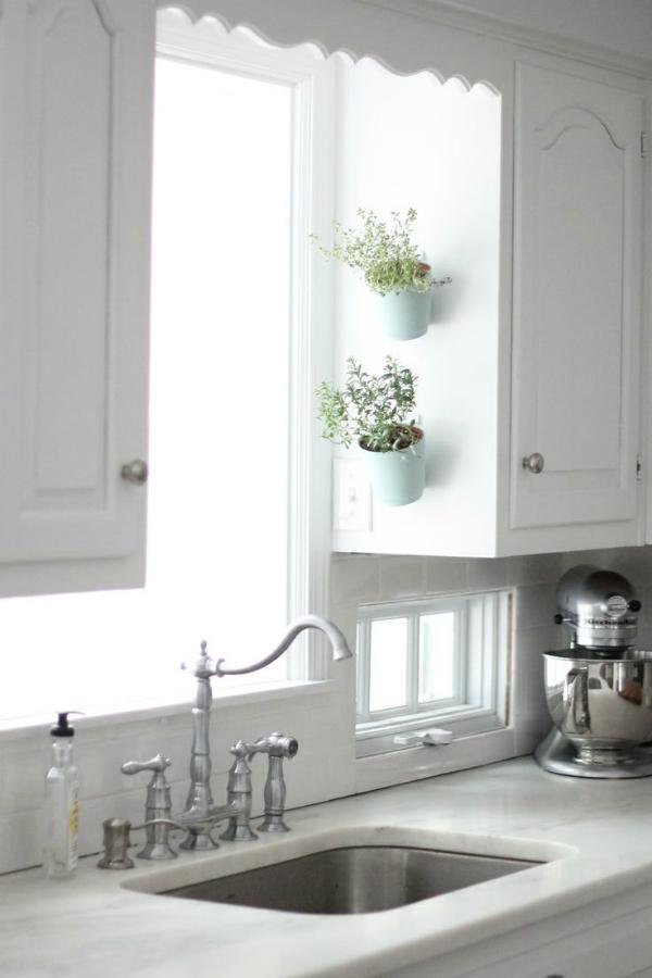 Vertical Wall Hanging Herb Gardening on Kitchen Shelf Base with Metallic Planters
